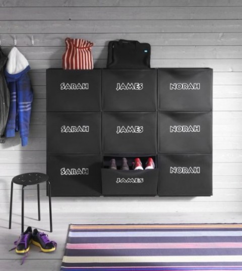 make a cool shoe storage piece adding stickers with kids'names to IKEA Trones