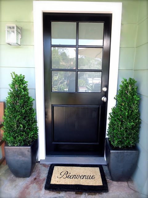 a black door and matching black ceramic planters with boxwood make a cool modern setup
