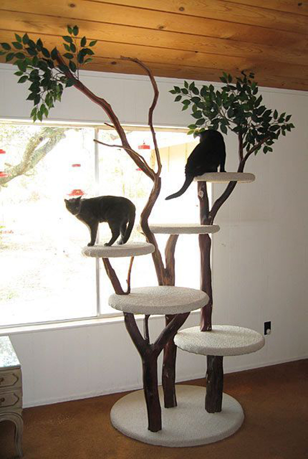 a classic-looking cat tree of branches and trunks and round platforms covered with fabric will inspire your cats to jump