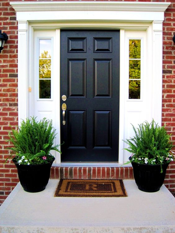 a black door and black planters with ferns and blooms for a modern and stylish porch