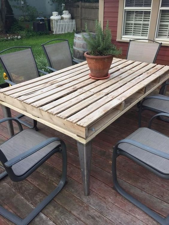 build an outdoor pallet table with a rustic tabletop and metal legs and find some matching chairs