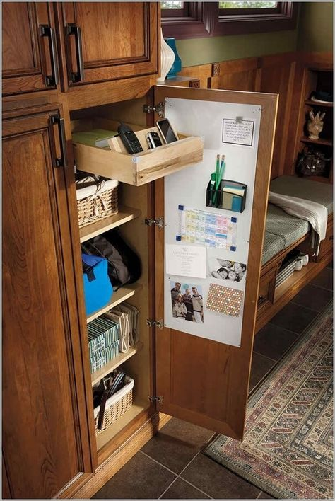 a cabinet with a drawer for charging is a cool idea for any kitchen, you can easily build in one