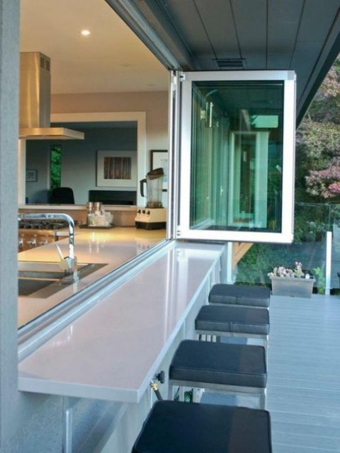 a simple foldable window and an outdoor breakfast space or bar zone plus comfy stools ith cushions
