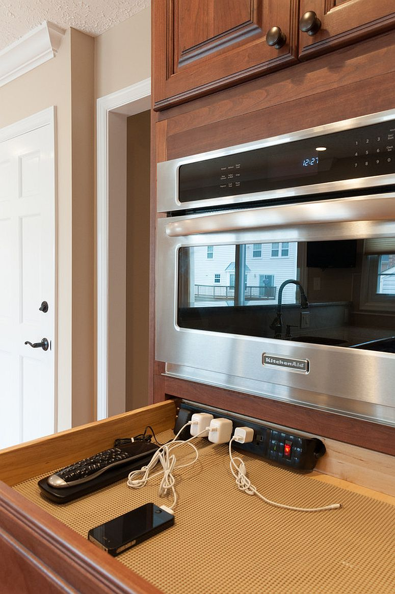 use or make a drawer under the appliances to make a comfy charging station that can be hidden sometimes