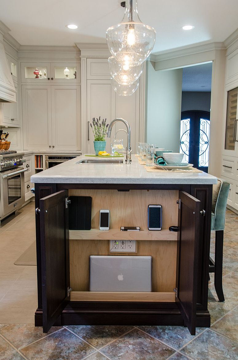 a whole charging station integrated into the kitchen island end - close the doors and you won't see it