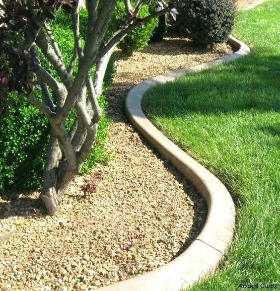 curved concrete garden bed edging is a chic minimalist idea that will match any plants