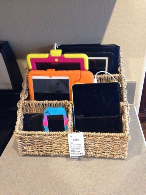 a basket next to the sockets will help you eliminate the clutter of cords and lots of devices