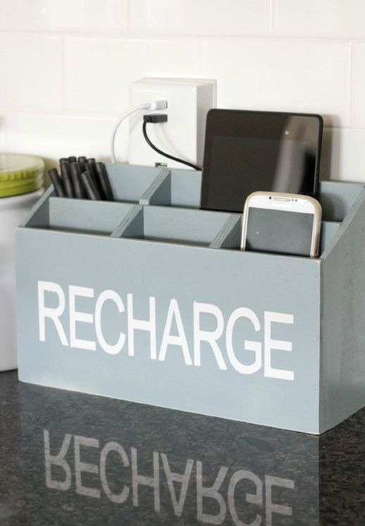 a box charging station in grey with a print is a comfy piece that you may DIY very fast