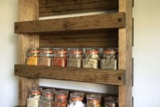 13 make a stylish rustic pallet shelf with several layers to store spices and other stuff in the kitchen