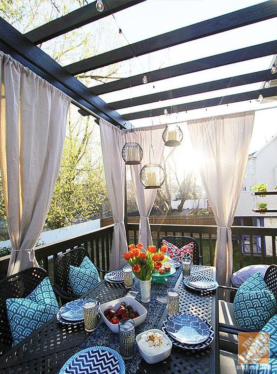 metal furniture always works for outdoors, it's very durable, just choose a basic color to rock it every year