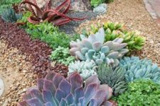 14 plant oversized and bright succulents as centerpieces and rock smaller and paler pieces around