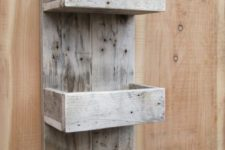 15 a whitewashed pallet shelf with thee layers is a great idea for an entryway, bathroom or some other small space