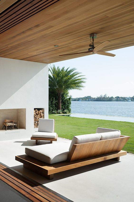 a minimalist outdoor-indoor living room that can be opened or closed anytime