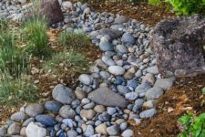 16 a river rock dry stream with grasses around is a cool and natural decor feature for a low water garden