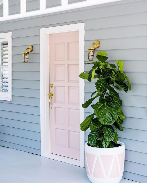 a blush door and a large planter in blush and white to match with a large plant and brass wall lamps