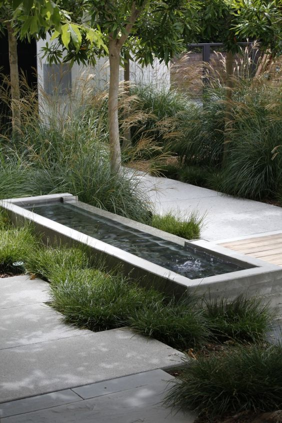 a contemporary water feature with a mini fountain surrounded with grasses will harmonize your front yard