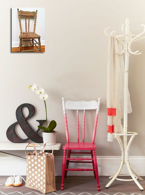 a vintage ombre chair from white to hot pink is a bold statement in any space