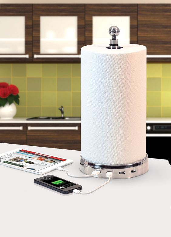 a smart and cool charger and towel holder in one cna be placed on the table or any cabinet and performs a double function