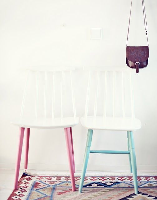 an unexpected way to spruce up old chairs - painting them white and the legs in some pastel shades