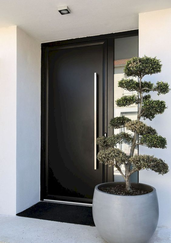 a large grey planter with a mini tree plus a laconic black door to make a chic minimalist porch