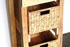 21 a large storage piece built of pallet wood and of basket boxes that act as drawers is a cool idea