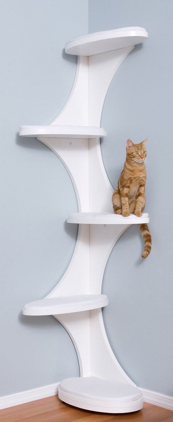 a modern version of a cat tree of several platforms and plywood connectors attached to the corner
