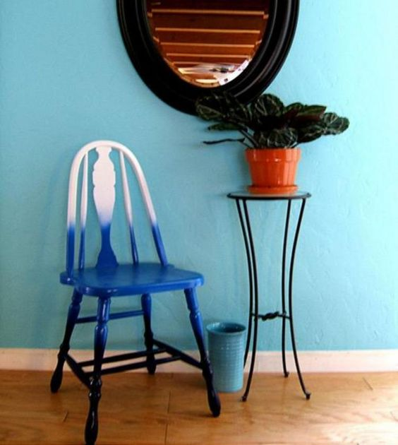 refresh a vintage fruniture piece turning it into a bold ombre chair from white to navy