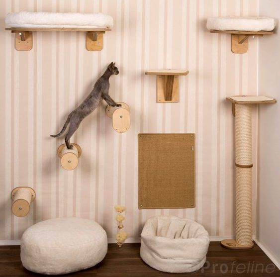 a modern version of a cat tree with some platforms and pillars plus branches to jump at