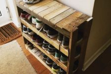 23 a simple rustic shoe rack built of pallet wood features several tiers to accommodate all your shoes, the piec ewill fit even a small entryway