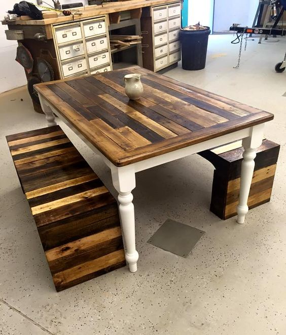 a vintage and rustic pallet furniture set of a table with refined legs and benches on both sides with bold staining