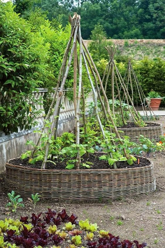 large basket covered garden beds for a cozy rustic feel in your garden, they fit both blooms and veggies