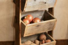 24 a simple rustic vegetable bin with three boxes on stands is a great idea for kitchens, you can easily build it of pallet wood