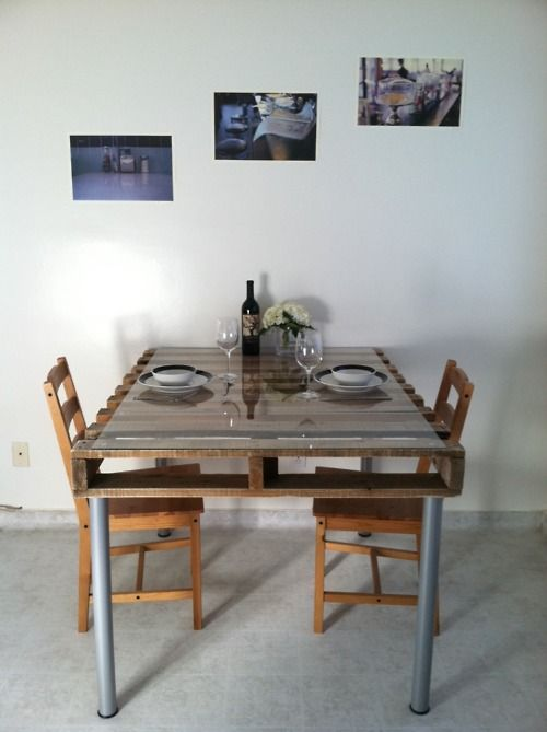 a dining table of a pallet for an industrial kitchen, a glass tabletop and metal legs plus wooden chairs