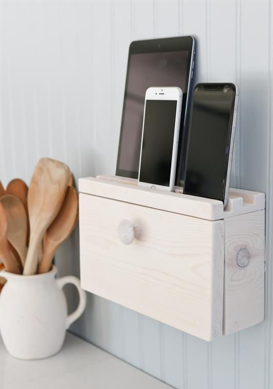 give your cell phones and devices the perfect place to recharge in style attaching such a small charing piece to the wall