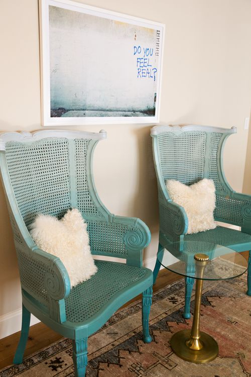 vintage cane chairs painted ombre turquoise will raise up the style of your space to a new level