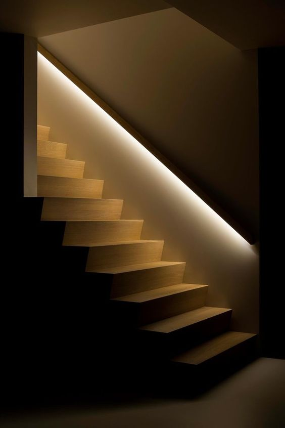 LED strip lighting to highlight the railing will let you see your stairs even in the dark
