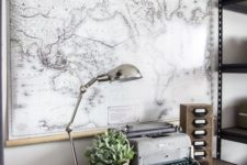 a large map for an industrial home office design