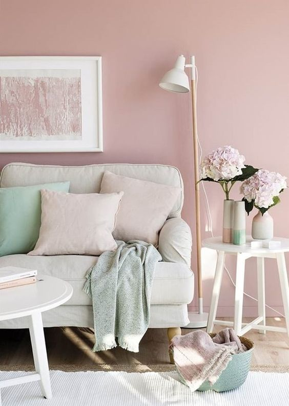 blush as the main color, cream as a secondary one and mint as an accent shade to rock
