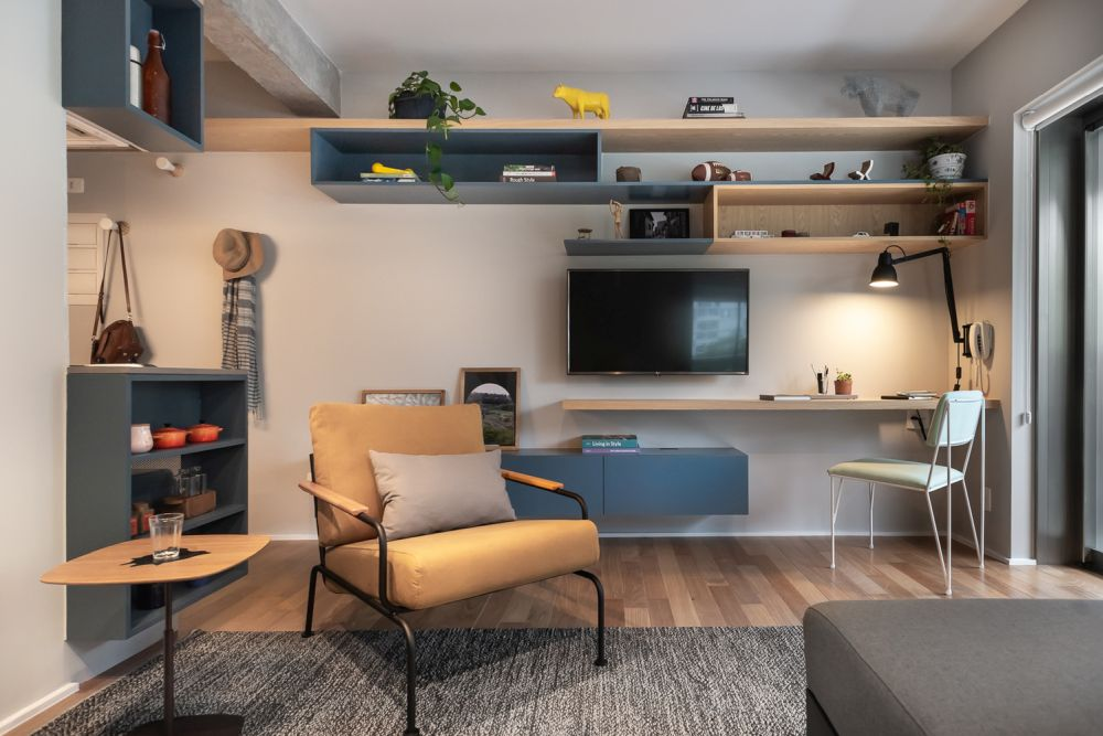 Every element of furniture is multifunctional or provides storage and gives a personal look to the room