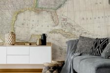 03 an oversized vintage map wall mural for a boho living room, it will always inspire you to travel