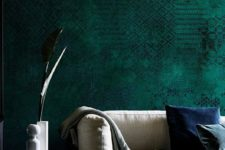 03 emerald green textural wallpaper here brings a cozy feel with its color and texture