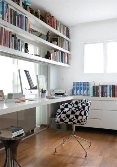 white shelves over the desk are a great idea to store many things and they won't take any floor space