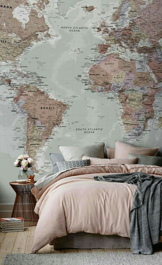 if you don't know how to fill a blank wall, try a map - it's very creative and you can mark the place you visited there