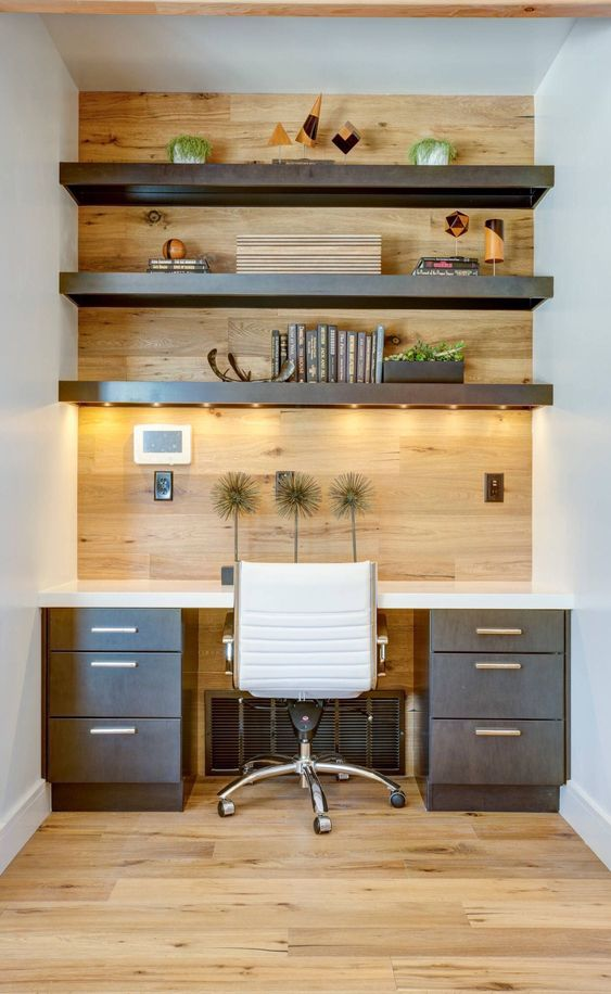 thick open shelves with lights over the desk highlight the style and shade of the desk and look cool