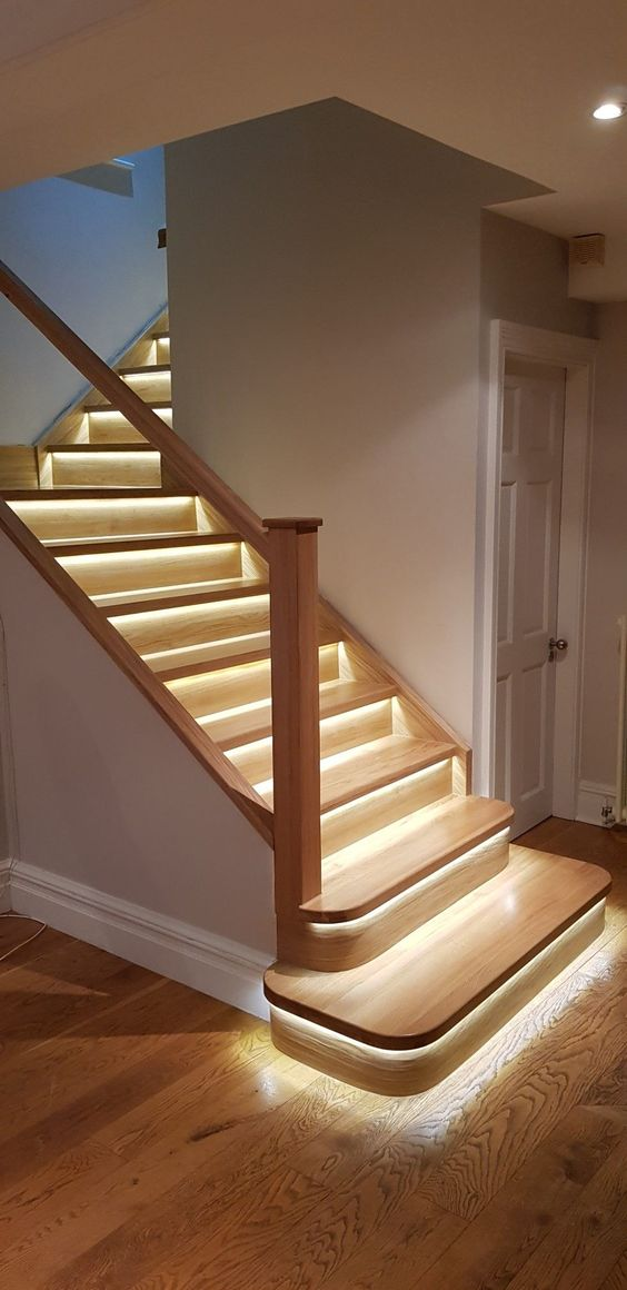 each step highlighted with strip lighting makes the staircase look more modern and edgy