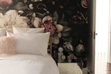 06 a trendy moody bedroom with ivory as the main color, blush as the secondary one and dark tones for more drama