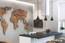 06 a wooden world map on the wall with pins is a cool idea to look at it while eating at the counter