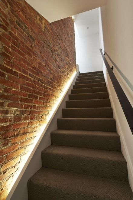 line up the staircase with strip lighting along it for a modern and fresh look