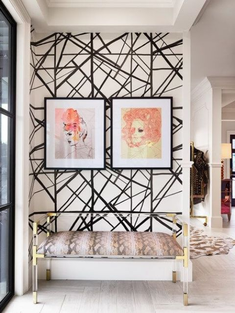 make your entryway bold and catchy with accent wallpaper on one of the walls and highlight your decor style