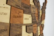 07 a wooden map is a gorgeous wall art, make each piece of a different shade to make it more contrasting and bold